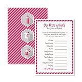 Babyparty Baby Shower Spiel-Set 8 Stück Der Preis ist Heiß mädchen rosa pink Partyspiel Quiz Spiel Deko Party Karte Geschenk Spielkarte Artikel von Mia-Félice Decorations