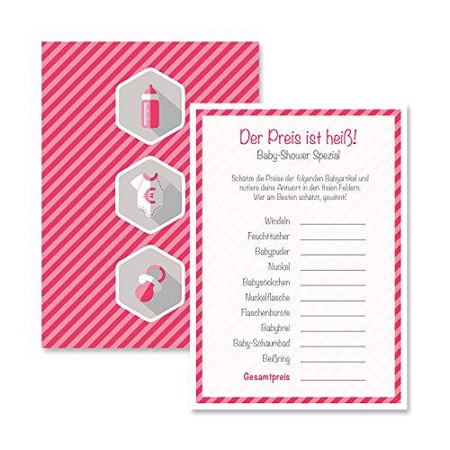Babyparty Baby Shower Spiel-Set 8 Stück Der Preis ist Heiß mädchen rosa pink Partyspiel Quiz Spiel Deko Party Karte Geschenk Spielkarte Artikel von Mia-Félice Decorations Heiße Mädchen Spielen Karten