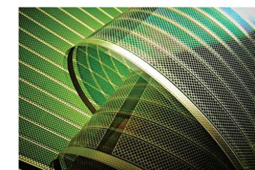 """Módulo fotovoltaico orgánico, lámina solar OPS orgánica, semitransparente, 1 lámina solar, """"fotovoltaica orgánica"""" (OPV), semitransparente, eficiencia ~ 2,5 - 3,0 % (STC 1000 W/m2, 1,5 AM, 25 °C), color: azul ~ 18 x 55 cm, con 2 cables de conexión (s..."""
