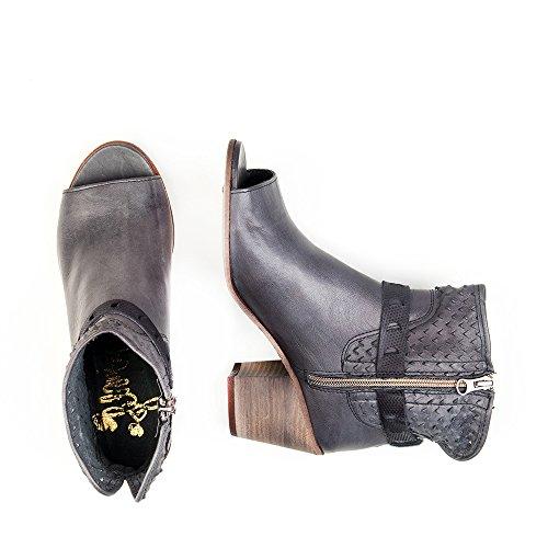 Felmini - Chaussures Femme - Tomber en amour avec Leiria 8689 - Bottes à Talons - Cuir Véritable - Noir Noir