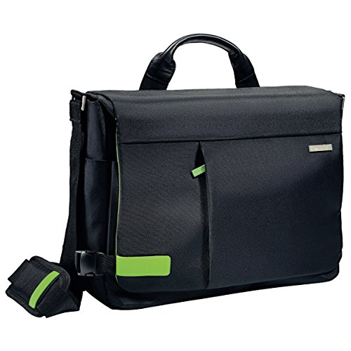 Leitz, Leichte Business Messenger-Tasche für 15.6 Zoll Laptop, Smart Traveller, Polyester/Metall/Leder, Complete, Schwarz, 60190095 (Messenger Business Aktentasche)