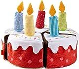 HABA 304105 - Geburtstagstorte, Zubehör für Kaufladen und Kinderküche, Stoff-Torte aus 5 Teilen mit abnehmbaren Kerzen, Spielzeug ab 3 Jahren