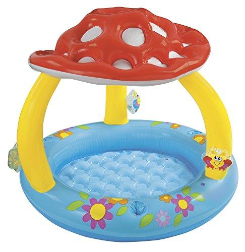 Divertida piscina infantil en forma de setaPiscina inflable que hará las delicias de los más pequeños. El suelo es blando para mayor comodidad y el techo proporciona sombra para que estén mejor protegidos del sol.- Medidas: 102 x 89 cm- Capacidad: 49...