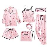 Packitcute Echte Seide Pyjamas Printed Sieben Stück Kleidung Set Homewear Anzüge für Frauen (Erdbeere, M)