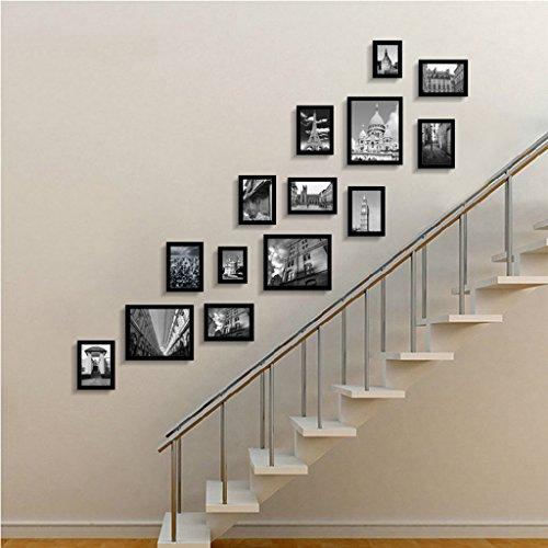 Cadre de Mur Photo Escalier Photo Mur Suspendu Créatif Combinaison Entrée Couloir Photo Mur en Bois Massif Mur Couloir Européenne Petite Surface Murale Design à la Mode (Couleur : D)