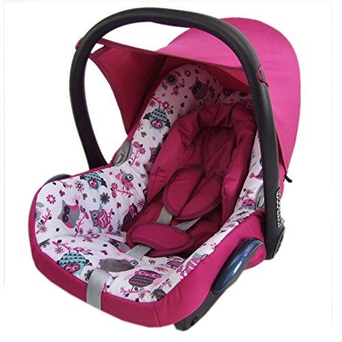 BAMBINIWELT Ersatzbezug für Maxi-Cosi Cabrio Fix 6-tlg., Bezug für Babyschale, Sommerbezug PINK + EULEN §1