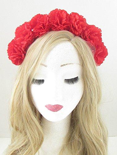 rouge-carnation-fleur-bandeau-festival-boho-guirlande-couronne-cheveux-bande-vtg-153-exclusivement-v