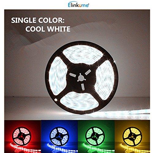ELINKUME® LED Streifen kaltweiß, 300 Stück 3528 LEDs, nicht wasserdicht, Lichtschlauch, 10M(2X5M)in jeder Packung, LED Band 12V DC
