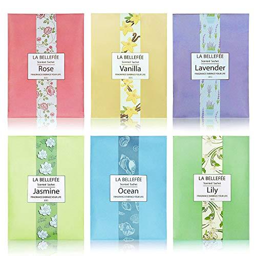 LA BELLEFÉE Duft Sachets Taschen Luftentfeuchter Duftsachet für Kleidung, Fragrant für Schubladen Schränke Büro-Toiletten, 30g X 6 Stück -