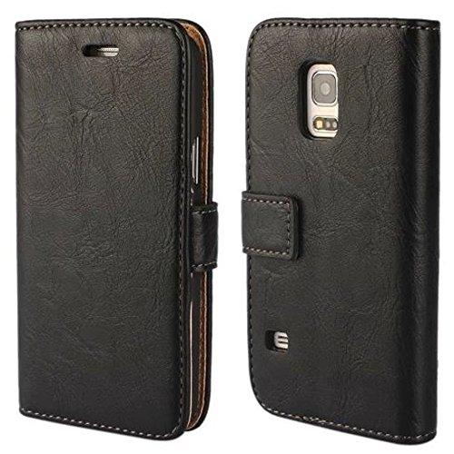 FDTCYDS Custodia Galaxy S 5Mini, Cover Galaxy S 5Mini Pochette Portafoglio in Vera Pelle Custodia Protettiva per Samsung Galaxy S 5Mini con–Black/Nero