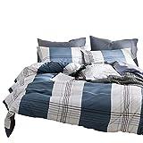 Xiongfeng Blau Weiß Karierte Bettbezug Bettwäsche Set 135x200cm, 2-teiliges Karo Bettwäsche Wendebettwäsche Jugendliche Mädchen Einzelbett