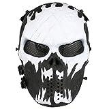 Full Face Airsoft Masque Imprimé étoiles facile haleine voir par le Masque de paintball avec maille métallique protection des yeux, blanc