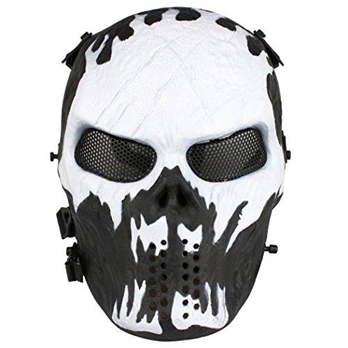 Face Weiß Maske Full (Full Face Softair Maske Star Print einfach Atem siehe durch Paintball Maske mit Metall Mesh Eye Schutz,)