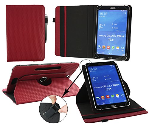 Emartbuy® Haier Mini Pad E700 Tablet 7 Zoll Universal ( 7 - 8 Zoll ) GepolsterteDesign Burgandy 360GradrotierendeStandFolioGeldbörseTascheHülle + Schwarz Eingabestift