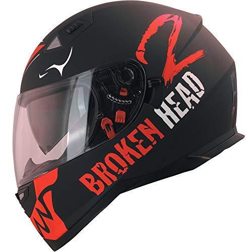 Broken Head Adrenalin Therapy VX2 - Motorrad-Helm Mit Sonnenblende - Schwarz-Rot Matt (Ltd.) - Größe L (58-59 cm)