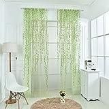 Willow Voile Tulle Vorhang Fadenvorhang Fenstervorhang Türvorhang Gardine Grün 100*200cm