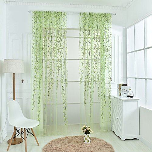 Norbi Willow Voile Tulle Room Window Curtain Sheer Voile Panel Drapes Curtain 39.4'' x 78.8 L (Green2) by Norbi -