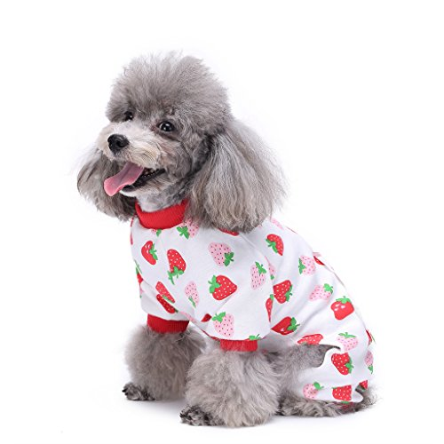 S-Lifeeling Dog Costumes Outfit Strawberry Pattern Comfortable Puppy Pyjamas Soft Dog Jumpsuit Shirt Best Gift 100% Cotton Coat for Medium and Small Dog