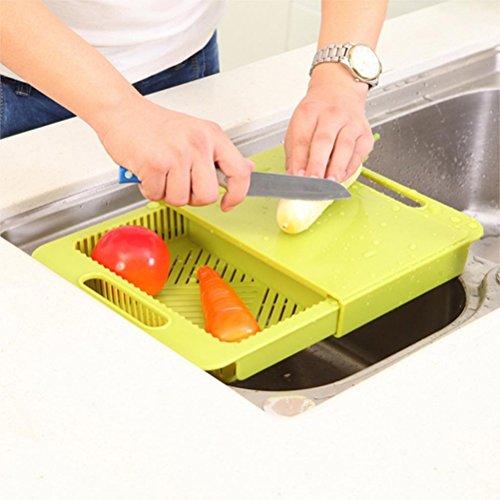 Ounona telaio cesto multifunzionale filtro rimovibile per il lavaggio delle verdure frutta 2 in 1 strumento di cucina per casalinga (verde)