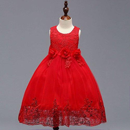 Blütenblatt Kleid Prinzessin Kleid Kinder Kleid Rock bestickt Pailletten flauschige Kinder Rock,rot,120 cm (Stich Kopf Kostüm)