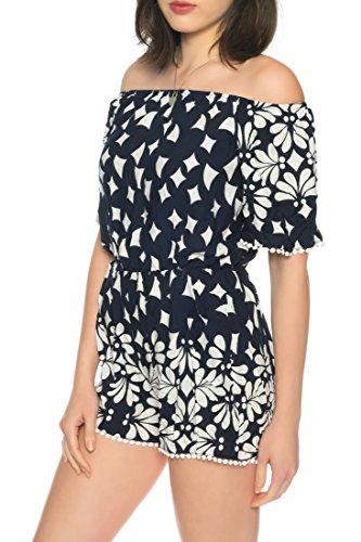 Dress Sheek Damen Jumpsuit Kurz Playsuit Sommer Spitze Luftig Mehrfarbig Gemustert Overall R213 - Navy Blau