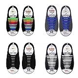 4 Piezas sin corbata Cordones - No Hay Necesidad de Atar, sin corbata Cordones de zapatos para niños y adultos, Cordones Zapatos Elasticos (Arco iris + Negro + Blanco + Azul)