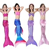 Haodasi 3Pcs New Enfants Filles Maillots de bain Sirène Queue Ensemble de bikini Des écailles de poisson Swimsuit With Monofin