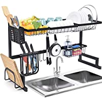 Over the Sink Dish Rack, Dish Drying Rack for Kitchen Organizer Storage Space Saver with Utensil Holder, Tableware Rack, Easy to Install, Black