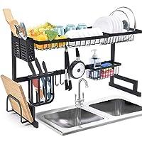 رف اطباق فوق المغسلة، رف تجفيف الاطباق لمنظم المطبخ، موفر لمساحة التخزين مع حامل اواني، رف ادوات المائدة، سهل التركيب، اسود