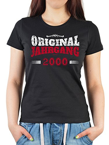 Damen T-Shirt in schwarz mit Geburtstagsmotiv - Original Jahrgang 2000 - Geschenk zum Geburtstag - Oberteil Schwarz