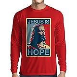 lepni.me Langarm Herren t Shirts Jesus ist die Hoffnung (XX-Large Rot Mehrfarben)