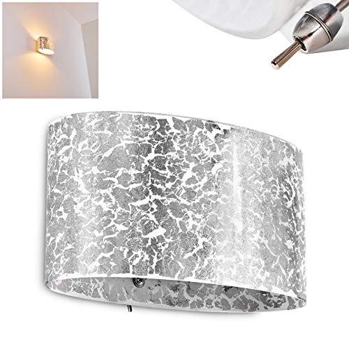 Wandleuchte Rapar aus Glas in Silberfarben mit Struktureffekt - Up & Down Wandspot mit Corpus in ovaler Form für Wohnzimmer, Schlafzimmer - Wandstrahler E27-Fassung 60 Watt - Schalter am Gehäuse - Silber Wand-lampe