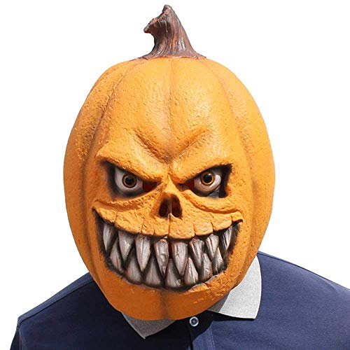 (kekai Kürbis Halloween Masken, Latex Maske für Kinder Erwachsene Damen,Horror Halloween Maske, Herren Haunted House Dressing Halloween Kostüm Party Cosplay Requisiten)