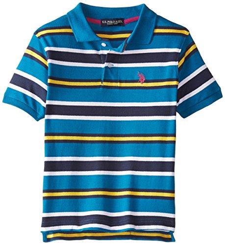 U.S. Polo Assn. Big Boys' Striped Pique Polo with Big Pony Logo, Autumn Teal, 14/16 (Pique Boys Striped Polo)
