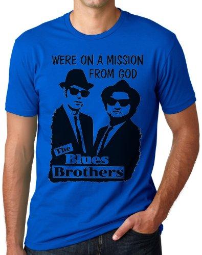 OM3 - BLUES BROTHERS - MISSION FROM GOD - T-Shirt JAKE and ELWOOD BLUES USA, S - 5XL Royalblau