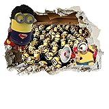 Minions Superman 3D Wandtattoo Kinder Wandaufkleber Wandkunst für Schlafzimmer Küchen Zimmer und Autos AOA® (minion superman smash 70cm)
