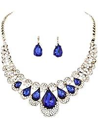 collares mujer joven,Webla Mujer estilo mixto Bohemia Bib cadena collar pendientes joyas conjunto