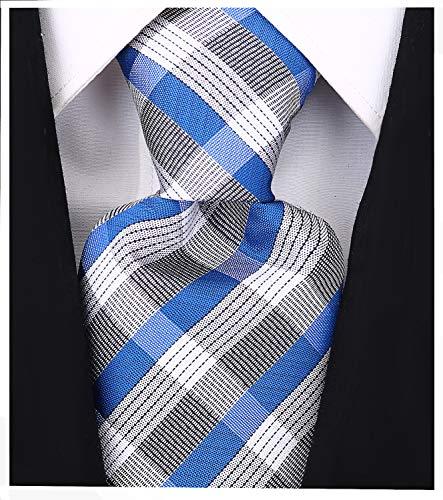 Scott Allan Herren Krawatte mit karierten Streifen, gewebte Krawatte - Blau - -