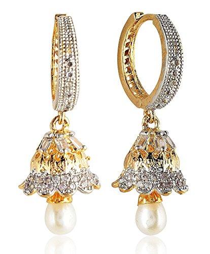 SKN Silver & Golden American Diamond Alloy Ear Bali Jhumki Earrings For Women & Girls (SKN-1294)