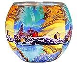 Himmlische Düfte Geschenkartikel CC274 Northern Light Windlicht, Glas, bunt, 11 x 11 x 9 cm