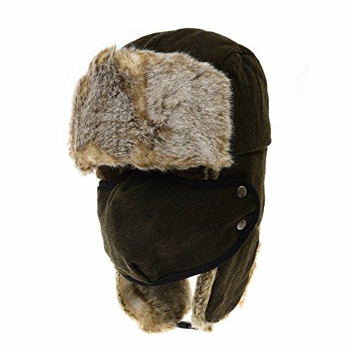 dfa28423c17 WITHMOONS cappello aviatore Wool Russian Hat Winter Trapper Cap Faux Fur  SL7883 (Green)