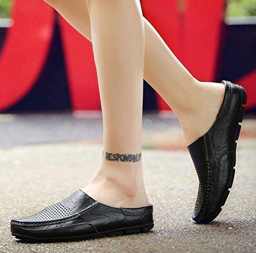 GLTER Scarpe da mocassino degli uomini Scarpe da ginnastica traspirante in pelle cuoio pattinata in pelle calzamaglia scarpe casual Black