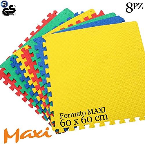 Bakaji tappeto puzzle 8 pezzi 60 x 60 cm multicolore in morbida gomma eva resistente, isolante, lavabile, tappetino da gioco per bambini superficie colorata per giocare, 4 tasselli maxi 126 x 246 cm