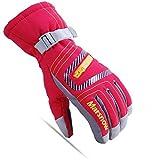 calistouk Kinder Winter Warm Ski Handschuhe kaltem Wetter winddicht wasserdicht Ski Schnee Handschuhe Motorrad Snowboard alle Finger M rot