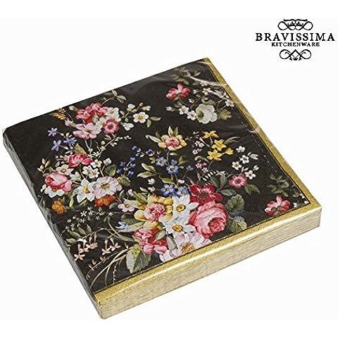 Set 20 servilletas bloom black - Colección Kitchen's Deco by Bravissima Kitchen