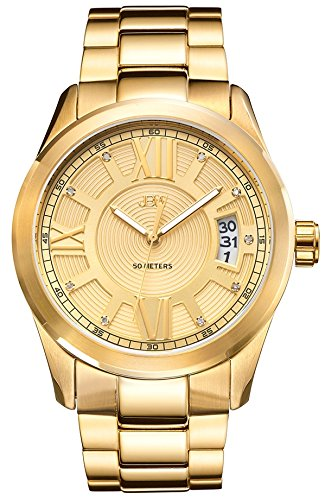 JBW MEN'S BOND DIAMOND 44MM 18K GOLD PLATED BRACELET QUARTZ WATCH J6311A