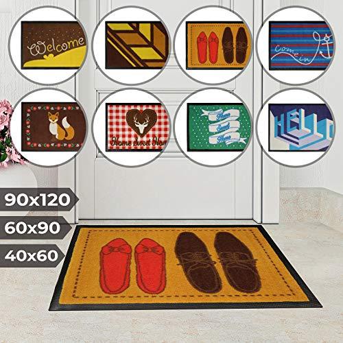 Jago Fußmatte für Eingangsbereiche - in acht verschiedenen Designs und DREI Größen - Türvorleger, Fußabtreter, Schmutzfangmatte, Schuhabstreifer (60 x 90 cm, Schuhe)