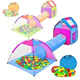 TecTake tienda infantil en forma de iglú con túnel + 200 bolas + bolsa - carpa de campaña para niños - disponible en diferentes colores - (multicolor 2 | 401233)