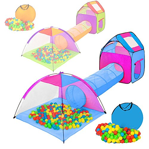 tectake-igloo-childrens-tent-with-tunnel-200-balls-bag-different-colours-multicolored-2-401233
