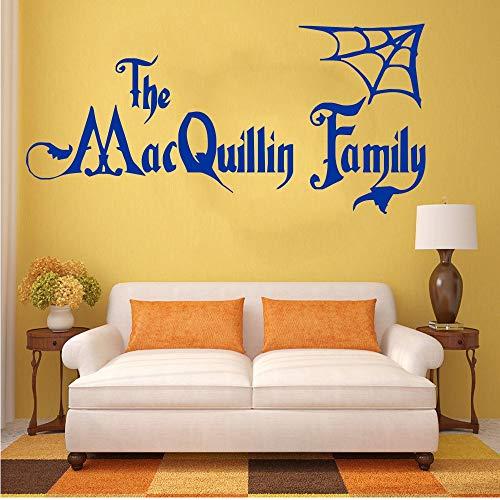 Czxmp Personalisierte Halloween Familie Name Addams Familie Vinyl Wandkunst Aufkleber Aufkleber Wandhauptwanddekor WohnzimmerDecor 22 * 88 Cm